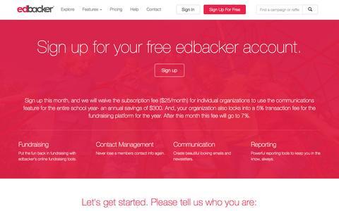 Screenshot of Signup Page edbacker.com - EdBacker - Signup - captured Dec. 7, 2015