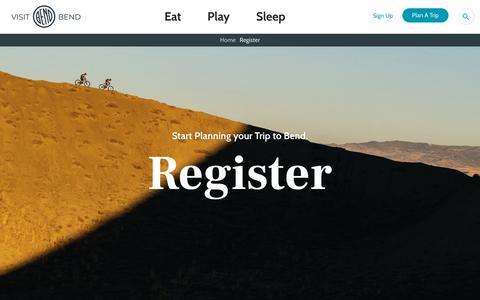 Screenshot of Signup Page visitbend.com - Register - Visit Bend - captured Oct. 6, 2019