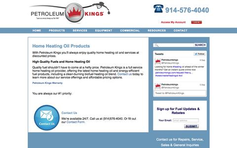 Screenshot of Products Page petroleumkings.com - Petroleum Kings Home Heating Oil Products and Services - captured Oct. 2, 2014