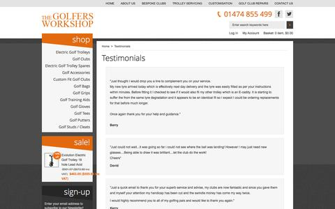 Screenshot of Testimonials Page thegolfersworkshop.co.uk - Testimonials : The Golfers Workshop - captured Oct. 7, 2014