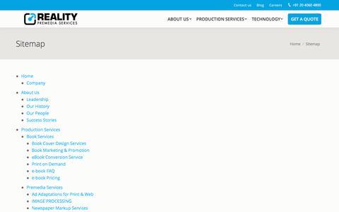 Screenshot of Site Map Page realitypremedia.com - Sitemap - Digital Publishing - captured Sept. 24, 2018