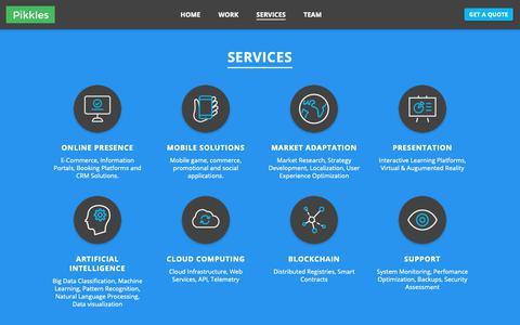 Screenshot of Services Page pikkles.com - SERVICES | Pikkles - captured Sept. 28, 2018