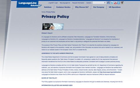 Screenshot of Privacy Page languageline.com - Privacy Policy – LanguageLine Solutions - captured Sept. 23, 2014