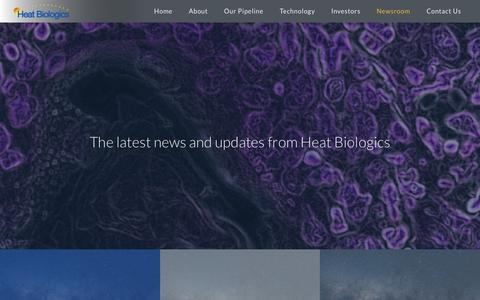 Screenshot of Press Page heatbio.com - Newsroom | Heat Biologics - captured Sept. 28, 2018