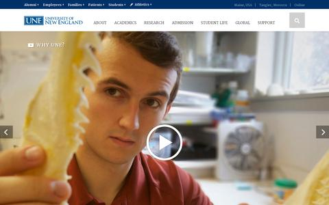 Screenshot of Home Page une.edu - Home | University of New England - Maine, Tangier and Online - captured July 17, 2014