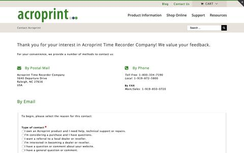 Screenshot of Contact Page acroprint.com - Contact Acroprint via Telephone, Post or Email   Acroprint Time Recorder Co. - captured Oct. 24, 2018