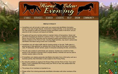 Screenshot of Privacy Page horseeden.com - Fun Horse Game For Equestrians! - Breed Your Dream Horse Today - Horse Games - Horse Eden - captured June 29, 2017