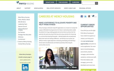 Screenshot of Jobs Page mercyhousing.org - Help Low Income & Homeless Families  Careers at Mercy Housing - captured July 23, 2016