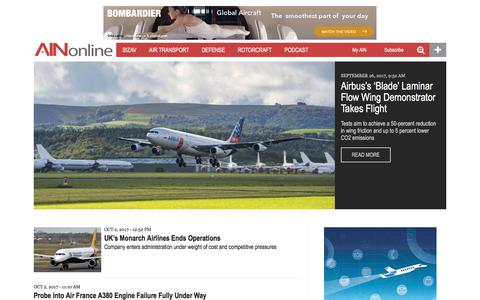 Screenshot of Home Page ainonline.com - Aviation International News | Business, Air Transport, Defense & General Aviation News - captured Oct. 3, 2017