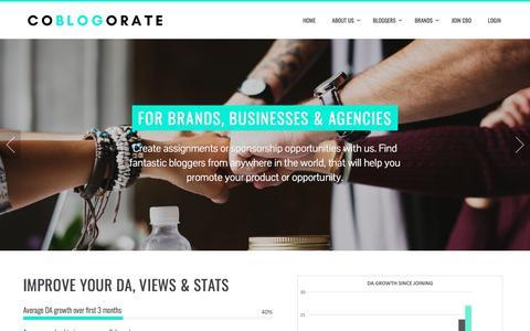 Screenshot of Home Page coblogorate.com - COBLOGORATE – share.write.speak - captured July 19, 2018