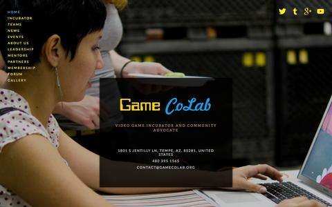 Screenshot of Home Page gamecolab.org - Game CoLab - captured Sept. 27, 2014