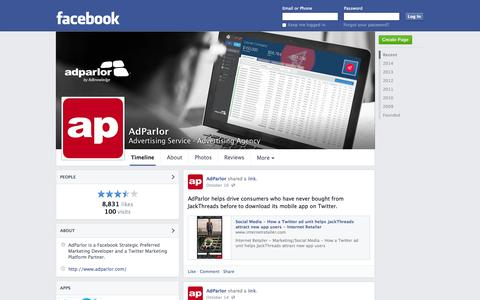 Screenshot of Facebook Page facebook.com - AdParlor - Toronto, ON - Advertising Service, Advertising Agency | Facebook - captured Oct. 23, 2014
