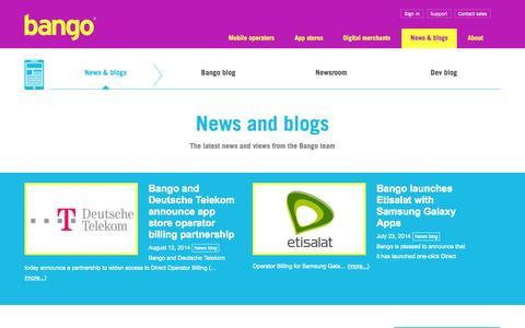 Screenshot of Press Page bango.com - Bango carrier billing news and blogs | Bango - captured Sept. 13, 2014