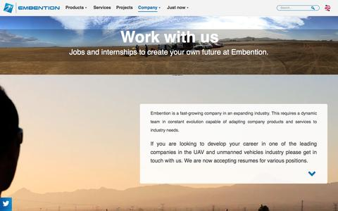 Screenshot of Jobs Page embention.com - Work with us to develop your career   Embention - captured May 17, 2017