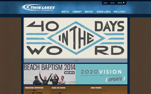 Screenshot of Home Page tlc.org - Twin Lakes Church / Sharing the gospel and serving the community of Aptos, Santa Cruz County, and the central coast of California - captured Oct. 6, 2014