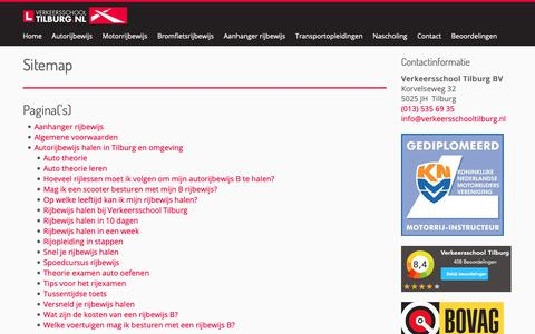 Screenshot of Site Map Page verkeersschooltilburg.nl - Sitemap - Verkeersschool Tilburg B.V. - captured Oct. 19, 2018