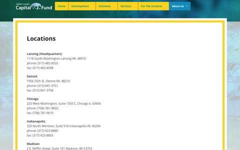 Screenshot of Locations Page capfund.net - Locations   Great Lakes Capital Fund - captured Oct. 3, 2014
