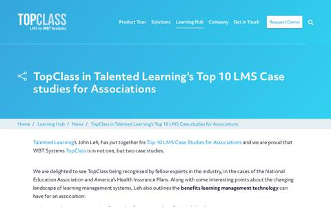 Screenshot of Case Studies Page wbtsystems.com - TopClass in Talented Learning's Top 10 LMS Case studies for Associations | WBT Systems - captured Jan. 11, 2020