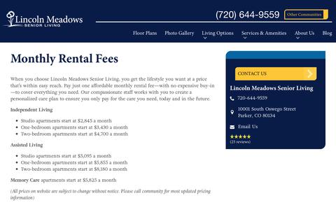 Screenshot of Pricing Page spectrumretirement.com - Monthly Rental Pricing   Lincoln Meadows Senior Living - captured Oct. 23, 2018