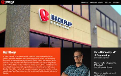 Screenshot of About Page backflipstudios.com - About : Backflip Studios - captured July 12, 2018
