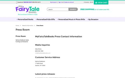 Screenshot of Press Page myfairytalebooks.com - MyFairyTaleBooks - Press Room - captured Aug. 14, 2016