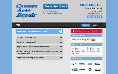 Screenshot of FAQ Page cannonautorepair.com - FAQ | Cannon Auto Repair in Cannon Falls, MN - captured July 18, 2015