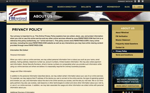 Screenshot of About Page Privacy Page fbiretired.com - FBI Retired Signature Directories | Locate Retired FBI Agents / Analysts | Expert Witness on Demand - captured Oct. 23, 2014