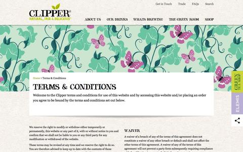 Screenshot of Terms Page clipper-teas.com - T's and C's   Clipper Teas - captured Jan. 29, 2016