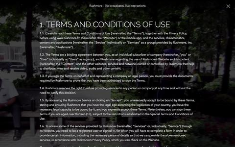 Screenshot of Terms Page rushmore.fm - Rushmore — About Rushmore - captured Nov. 4, 2014
