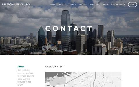 Screenshot of Contact Page freedomlifedfw.com - Contact — Freedom Life Church - captured Feb. 10, 2016