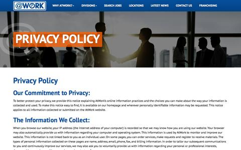 Screenshot of Privacy Page atwork.com - Privacy Policy - captured Nov. 2, 2014