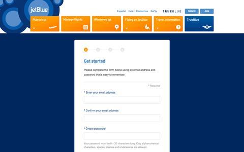 Screenshot of Signup Page jetblue.com - JetBlue | TrueBlue: Join - captured Nov. 20, 2015