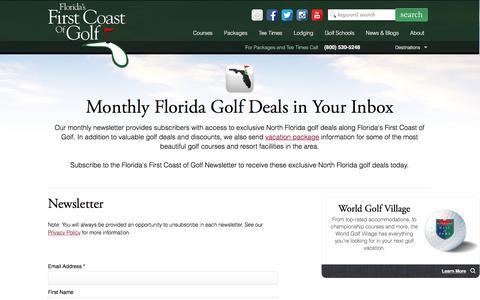Screenshot of Signup Page florida-golf.org - Florida Golf Newsletter | Northeast Florida Golf Travel Guide - captured Nov. 25, 2016