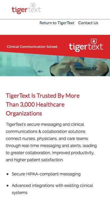 TigerText Landing Page