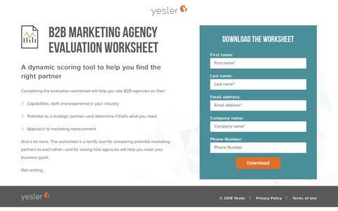 Screenshot of Landing Page yesler.com - B2B Marketing Agency Evaluation Worksheet | Yesler - captured July 24, 2018