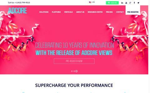 Screenshot of Home Page adcore.com - AdWords Software | adCore - captured Sept. 4, 2016