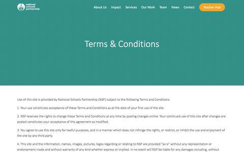 Screenshot of Terms Page nationalschoolspartnership.com - Terms & Conditions - National Schools Partnership - captured June 19, 2017