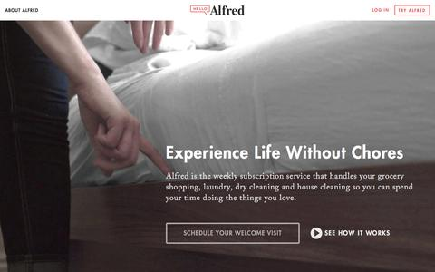 Screenshot of Home Page helloalfred.com - Alfred   Home - captured Dec. 2, 2015