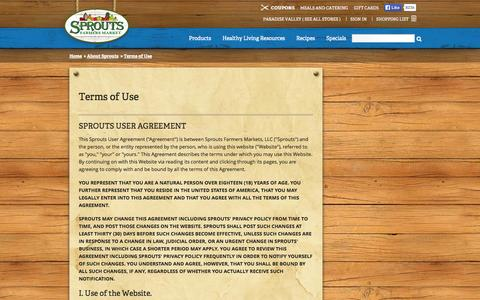 Screenshot of Terms Page sprouts.com - Terms of Use - Sprouts Farmers Market - captured Sept. 18, 2014
