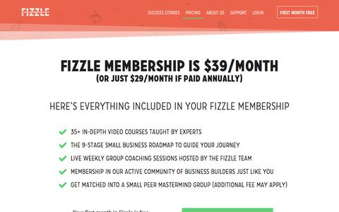 Screenshot of Pricing Page fizzle.co - Fizzle Pricing — Fizzle - captured March 17, 2018