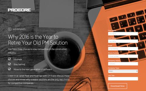 Screenshot of Landing Page procore.com - Why 2016 is the Year to Retire Your Old PM Solution - captured May 5, 2016