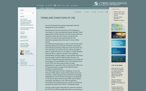 Screenshot of Terms Page ctbto.org - Terms and Conditions of Use: CTBTO Preparatory Commission - captured Sept. 19, 2014