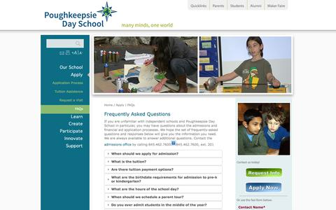 Screenshot of FAQ Page poughkeepsieday.org - Poughkeepsie Day School: FAQs - captured Oct. 2, 2014
