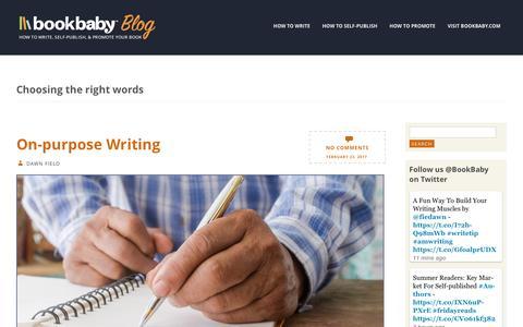 Screenshot of Blog bookbaby.com - Choosing the right words | BookBaby Blog - captured Feb. 27, 2017