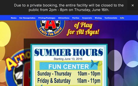 Screenshot of Hours Page arnoldsffc.com - Hours — Arnold's Family Fun Center - captured June 17, 2016