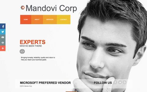 Screenshot of Home Page mandovi.us - Home - captured Oct. 4, 2014