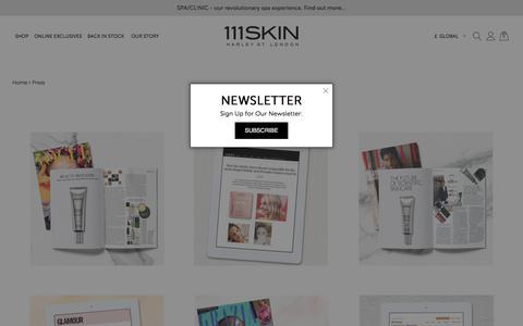 Screenshot of Press Page 111skin.com - Press - captured Aug. 15, 2018