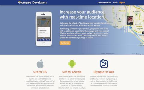 Screenshot of Developers Page glympse.com - Glympse Developers Home - captured Oct. 28, 2014