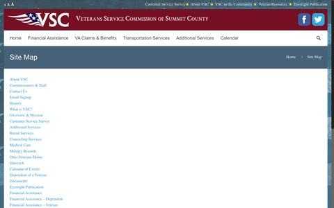 Screenshot of Site Map Page vscsummitoh.us - Site Map | Veteran's Service Commission of Summit County - captured Dec. 2, 2016