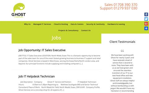 Screenshot of Jobs Page ghostservices.co.uk - Jobs Archives - Ghost IT Support Services For Essex - captured Sept. 28, 2018